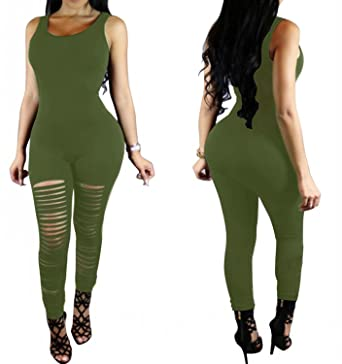 5419ee96c7c YiYaYo Women s Bodycon Jumpsuit Cut Out Hole Legging Rompers Outfit  ArmyGreen S