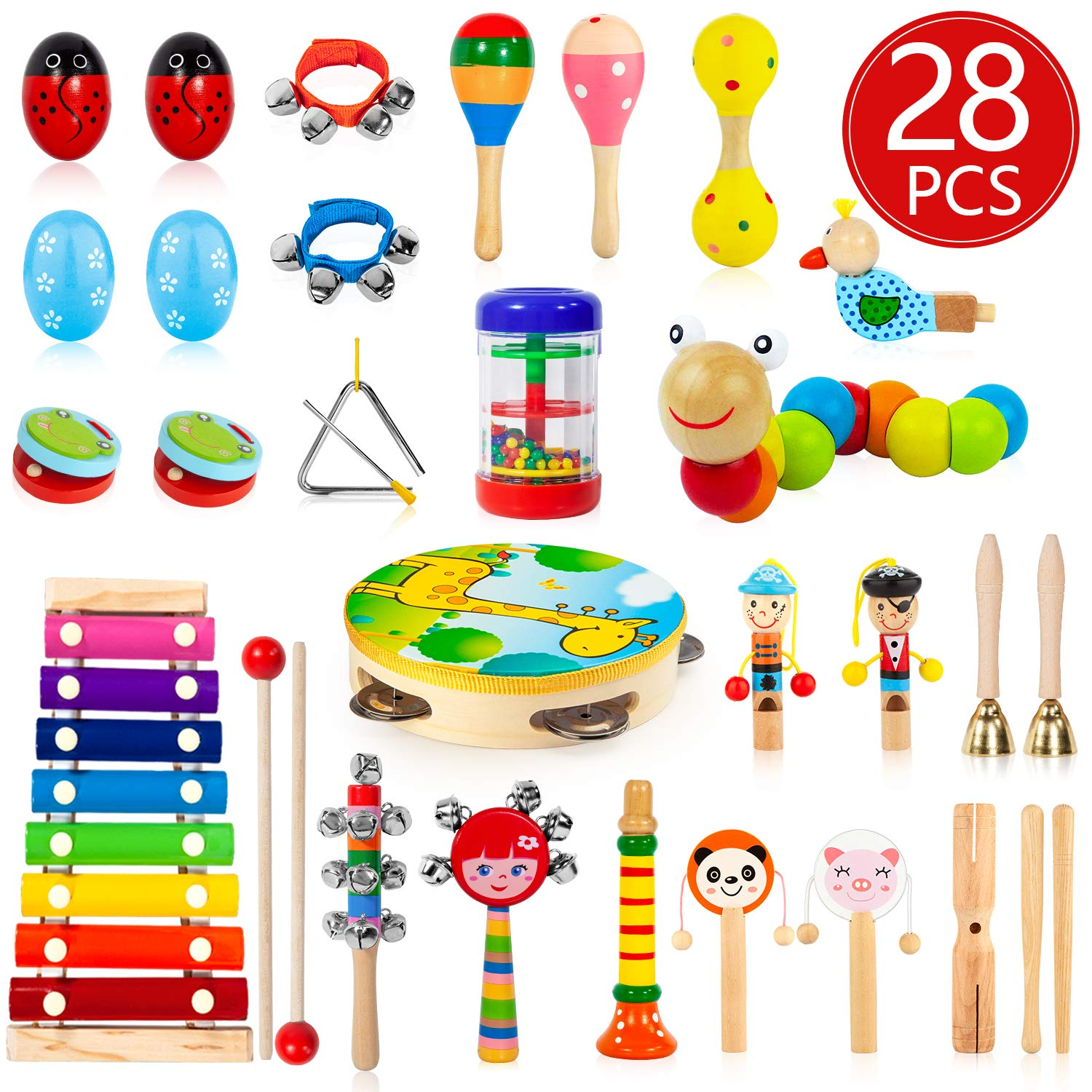 AOKIWO Kids Musical Instruments, 28Pcs 19Types Wooden Instruments Tambourine Xylophone Toys for Kids Children, Preschool Educational Learning Musical Toys for Boys Girls by AOKIWO