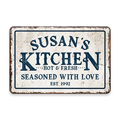 Personalized Vintage Distressed Look Kitchen Wall sign