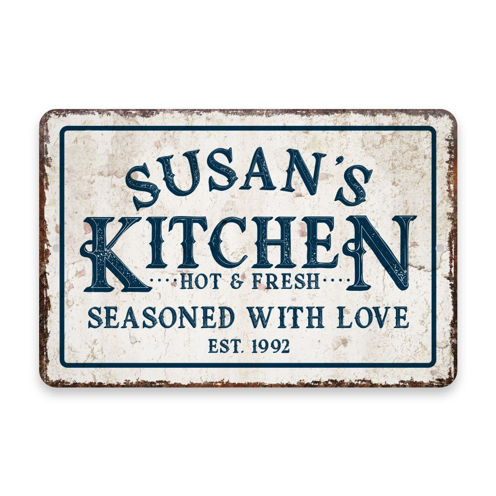 Personalized Vintage Distressed Look Kitchen Seasoned with Love Metal Room Sign