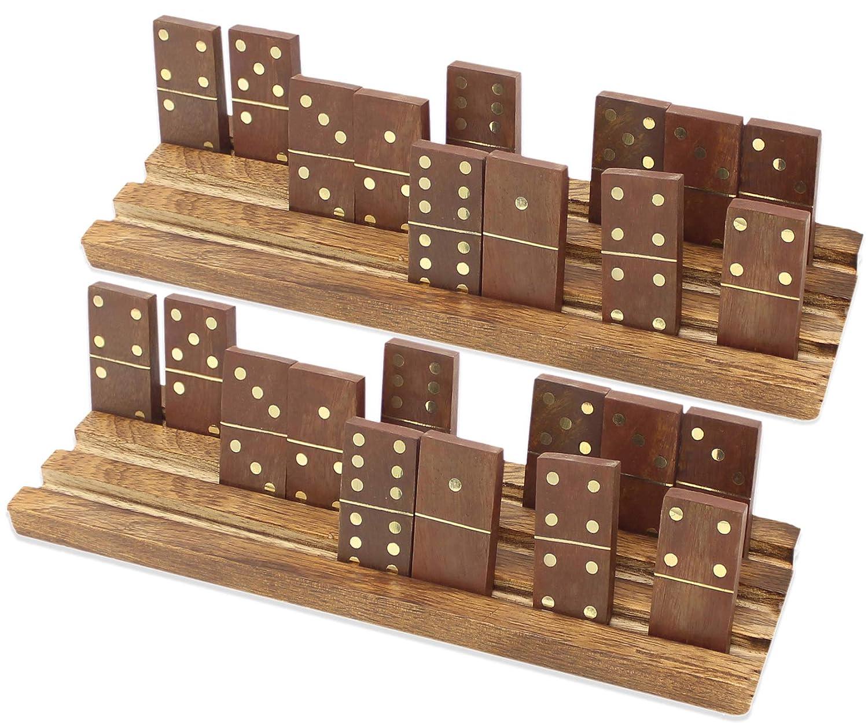 Domino Trays Racks Set Of 2 Premium Dominoes Tile Game Holder Racks Indian Hardwood Antique Finish By Skavij