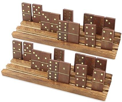 SKAVIJ Handmade Wooden Domino Tray Set Double 6 Tile Game (Pack of 2, Brown)