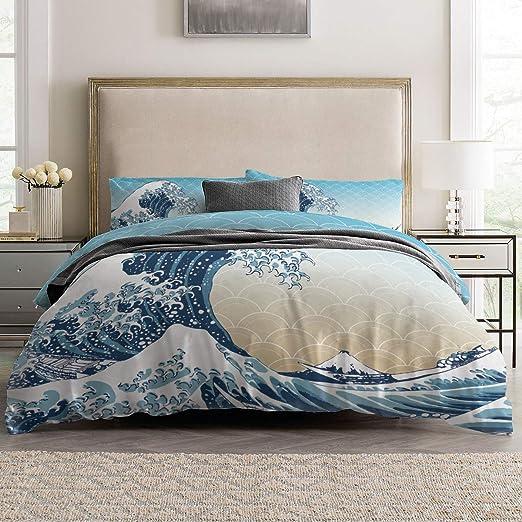 Easy Care Wave Striped Soft Quilt Duvet Cover Set Orange Green Bedding Set