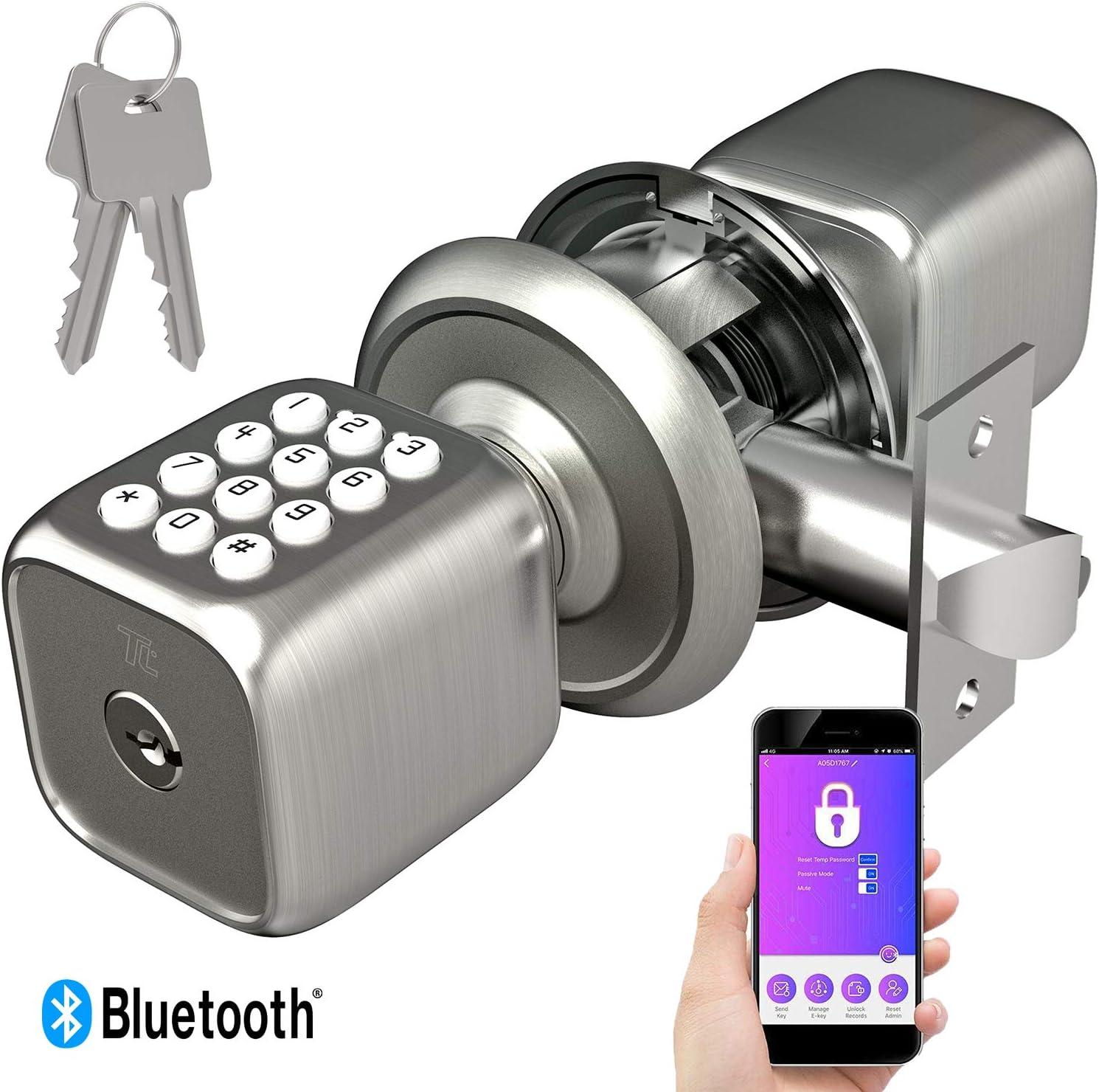TURBOLOCK TL-111 PRO Smart Door Lock   Send eKeys w/App   Keypad Door Knob-Styled Keyless Entry   Digital Security w/Backup Keys & Emergency Power Port (Brush Nickel)
