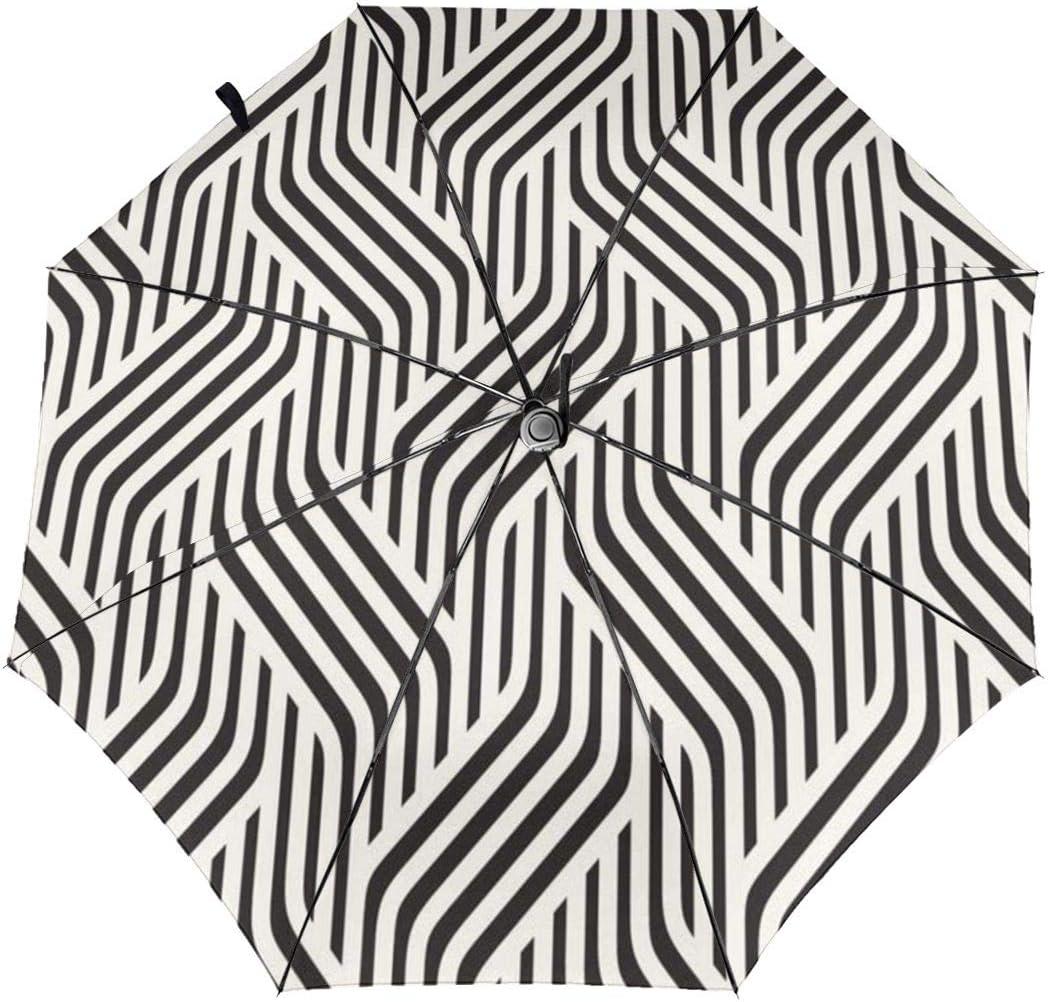 DXDXL The Unique Patterns Automatic Tri-fold Umbrella Inside Print One Size