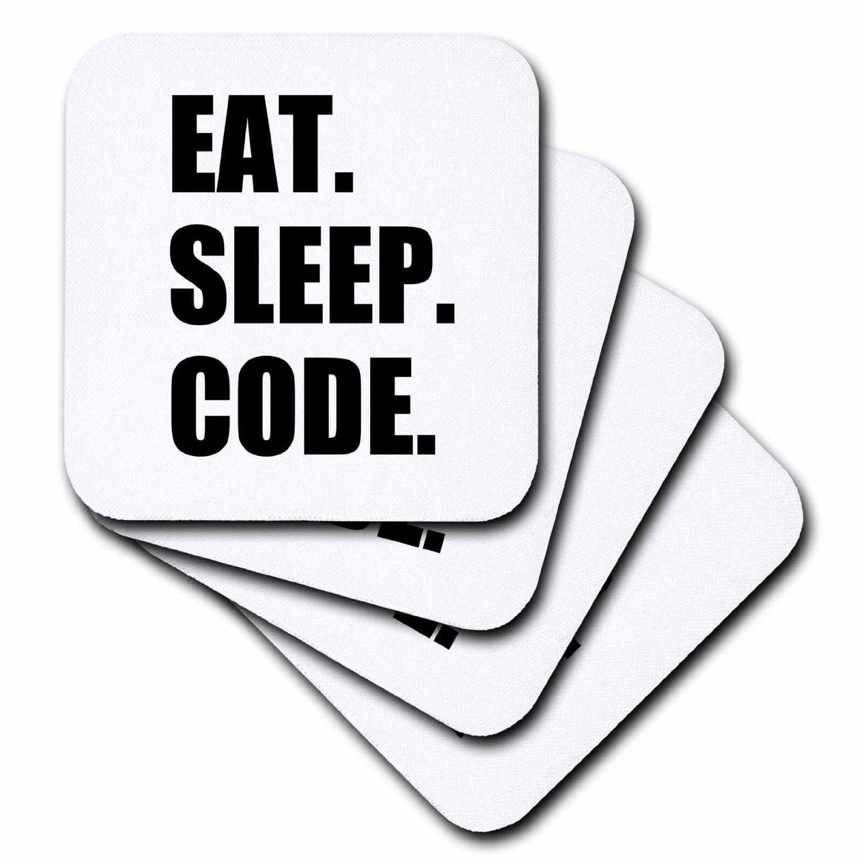 Programmer Love to Program Set of 8 Coding-Soft Coasters 3dRose cst/_180391/_2 Eat Sleep Code-Computer Coder