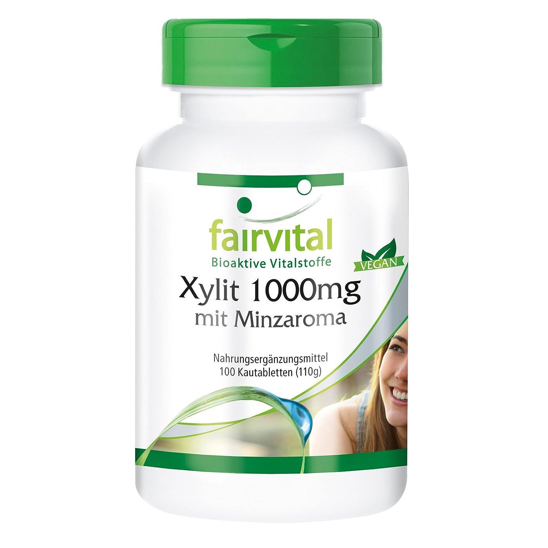 1000mg xilitol con sabor a menta - Bote para 100 días - VEGANO - Alta dosificación - 100 comprimidos masticables: Amazon.es: Salud y cuidado personal