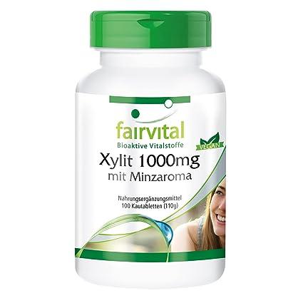 1000mg xilitol con sabor a menta - Bote para 100 días - VEGANO - Alta dosificación