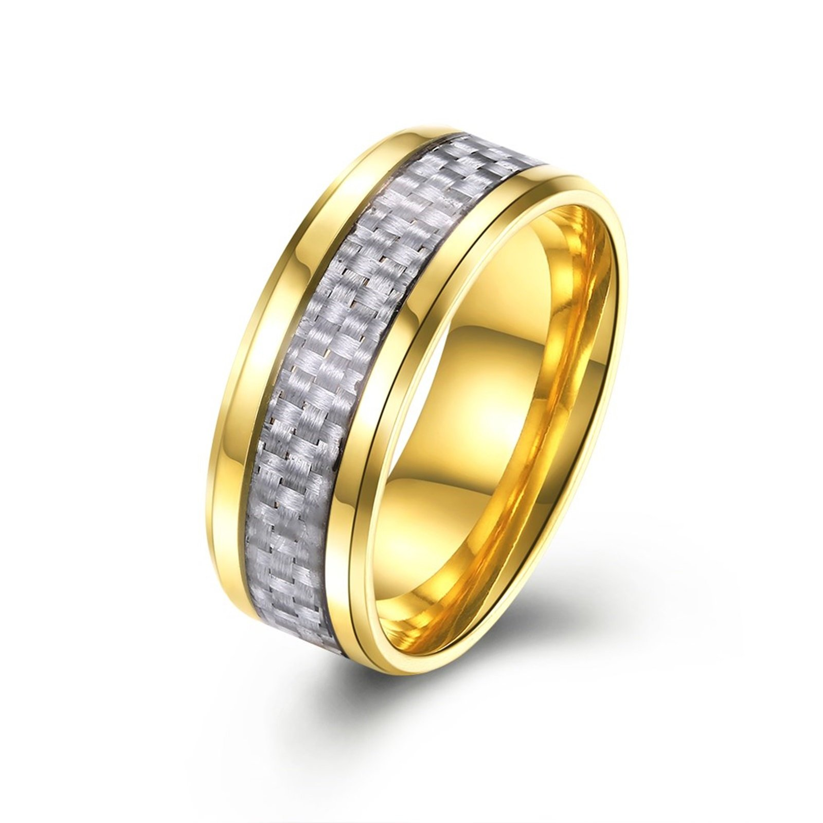 Epinki Stainless Steel Wedding Rings for Men Silver Carbon Fiber Inlaid 8MM Gold Ring Size 8 Men Accessories