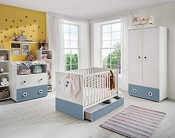 Lifestyle4living Babyzimmer Komplett Set In Weiss Und Hellblau