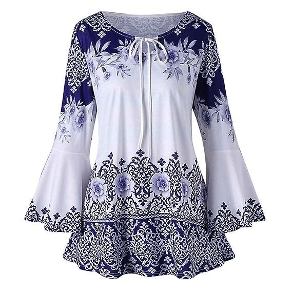 Manga Flare para Mujer de Moda,Blusas Estampadas de Tallas Grandes Blusas Camisetas