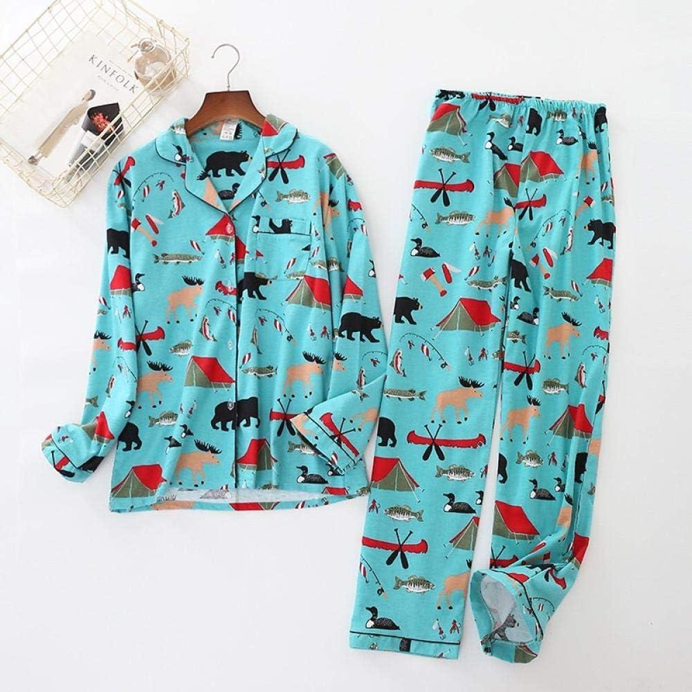 Lindo Pato Rosa 100% algodón Pijama Traje Mujer Lindo Pijama de Manga Larga Muji Invierno Cepillado Invierno cálido Pijama casero-PH-006_S: Amazon.es: Hogar