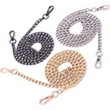 Swpeet 3Pcs Luxury Fashion 47 Inche Replacement Flat Chain Strap with Buckles Set, Perfect for DIY Metal Shoulder Cross Body Bag Hand Bag Purse Replacement ( Gold + Silver+ Gun-Black)