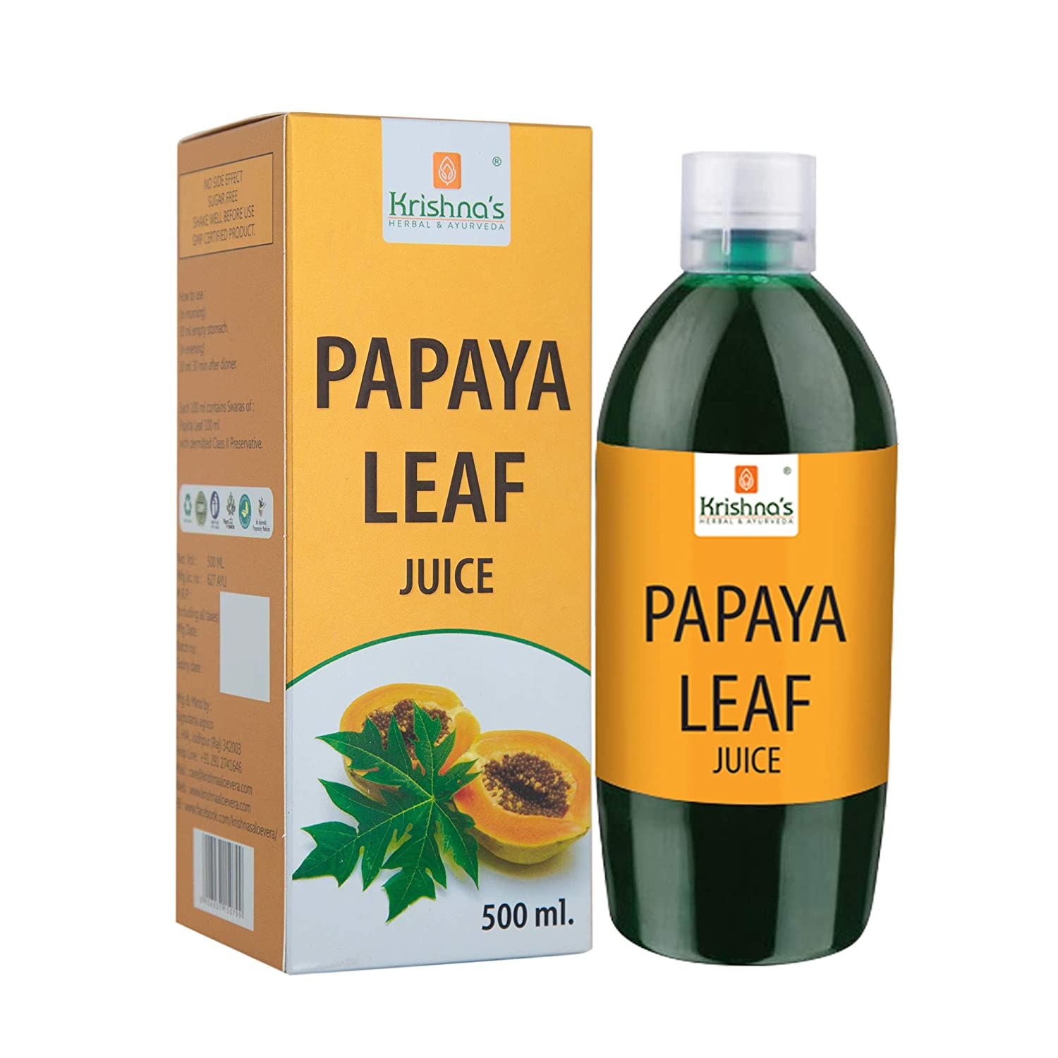 Buy Krishna S Herbal Ayurveda Papaya Leaf Juice Remedy For Dengue Fever 500 Ml Online At Low Prices In India Amazon In