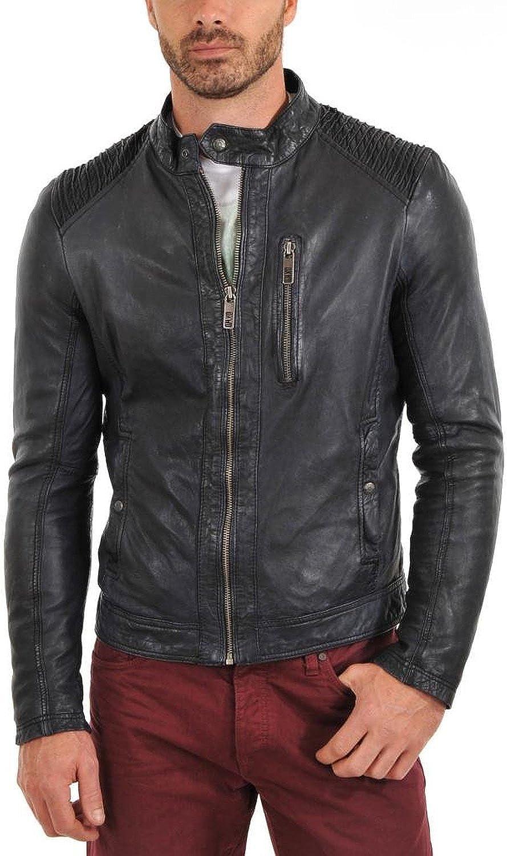 New Mens Genuine Lambskin Leather Slim Fit Biker Motorcycle Jacket for Men T467