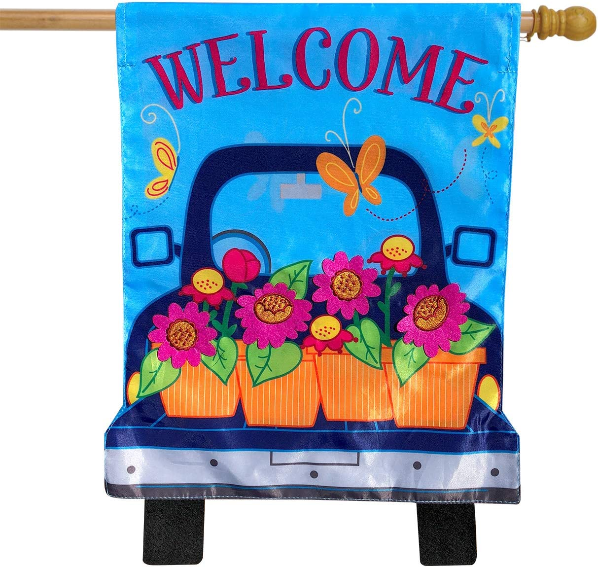 "Briarwood Lane Spring Pickup Applique House Flag Welcome Floral 28"" x 40"""
