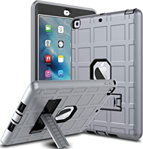 DONWELL iPad Case 9.7 iPad 6 Cover 2018 Heavy Duty Shockproof Defender Protective Cover with Kickstand Designed for iPad 5 5th Generation Model A1823 A1822 A1893 (Type2- Grey/Black)