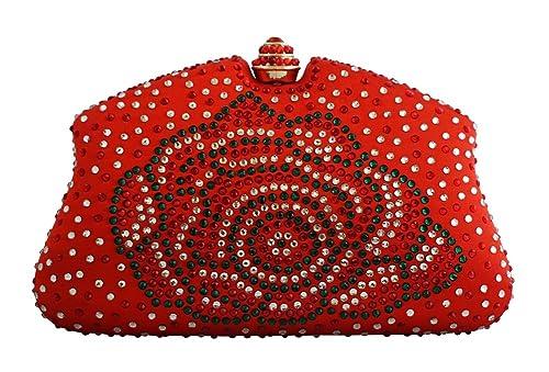 Chicastic Red Multi Color Rhinestone Clutches Evening Bags Handbags Wedding Clutch  Purse  Handbags  Amazon.com 5a796b33250e