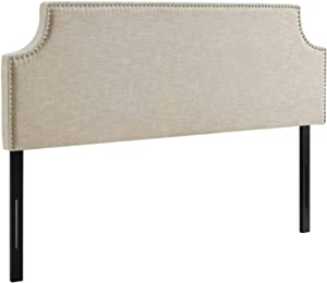 Modway Laura Linen Fabric Upholstered Queen Size Headboard with Nailhead Trim in Beige