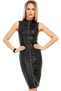0b0a3df53e69 Mayaadi Damen-Kleid Leder-Look Party-Kleid Abend-Kleid Cocktail-Kleid