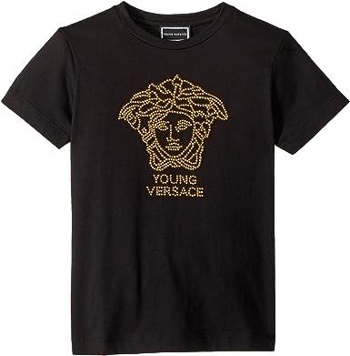 cc0129fd Versace Kids Girl's Short Sleeve Embellished Medusa Logo T-Shirt (Big Kids)  Black
