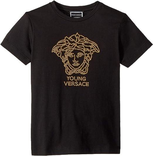 f55331e32ab0 Amazon.com  Versace Kids Womens Short Sleeve Embellished Medusa Logo T-Shirt  (Big Kids)  Clothing