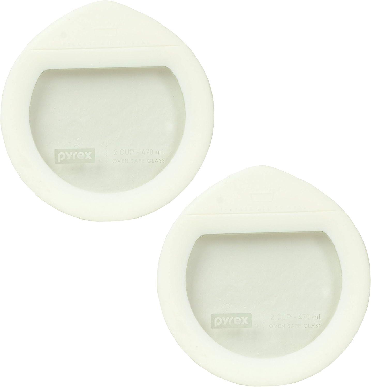 Pyrex Ultimate OV-7200 White Round Glass Storage Lids - 2 Pack