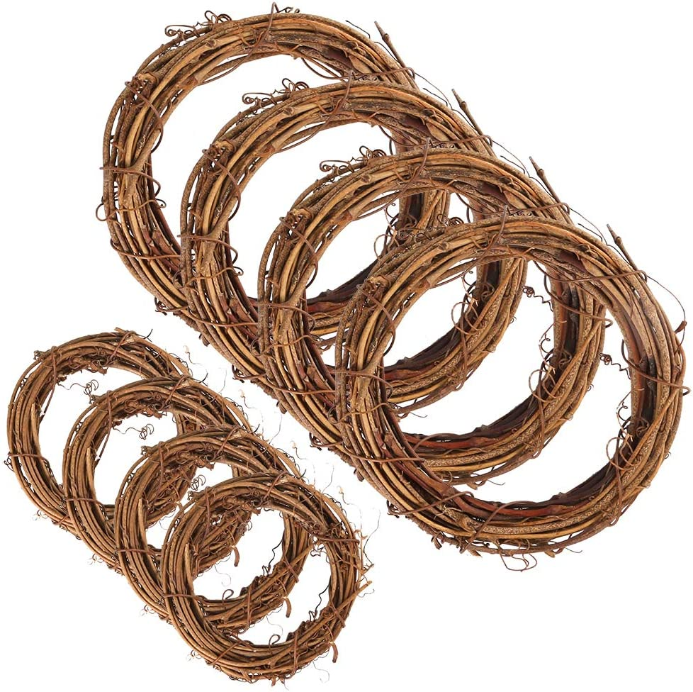 Sntieecr 8 Pieces 2 Sizes Natural Grapevine Wreaths Vine Branch Wreath Garland for DIY Christmas Craft Rattan Front Door Wall Hanging Holiday Party Decors (3 & 5 inches)