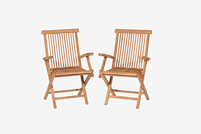 TEAK Folding Arm Chairs. (Teak) Golden Honey color will fold flat for easy compact storage. If left natural will weather to a gray natural finish or ...