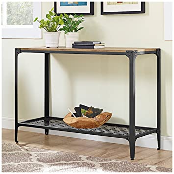 Walker Edison Angle Iron Rustic Wood Console Table In Barnwood