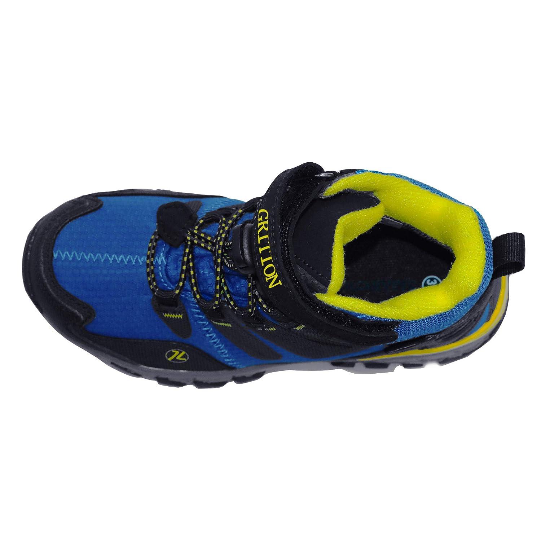 GRITION Kids Hiking Boots Boys Waterproof Winter Walking Boots Hook and Loop School Shoes Anti Slip Unisex Outdoor Trekking Blue