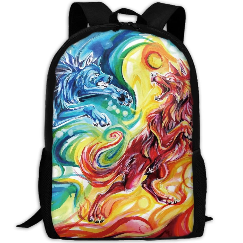 CY-STORE Colorful Animal Wolf Art Print Custom Casual School Bag Backpack Travel Daypack Gifts