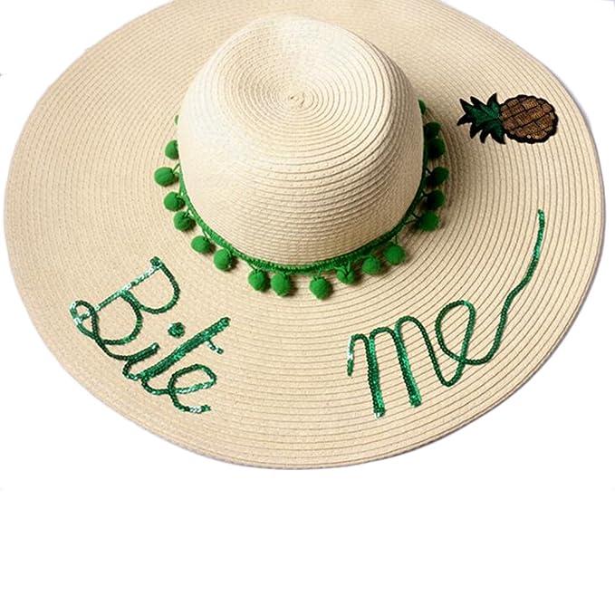 Women Large Brim Summer Straw Hat Sequins Letter Off Duty Handmade ... b7fd1fcc23d