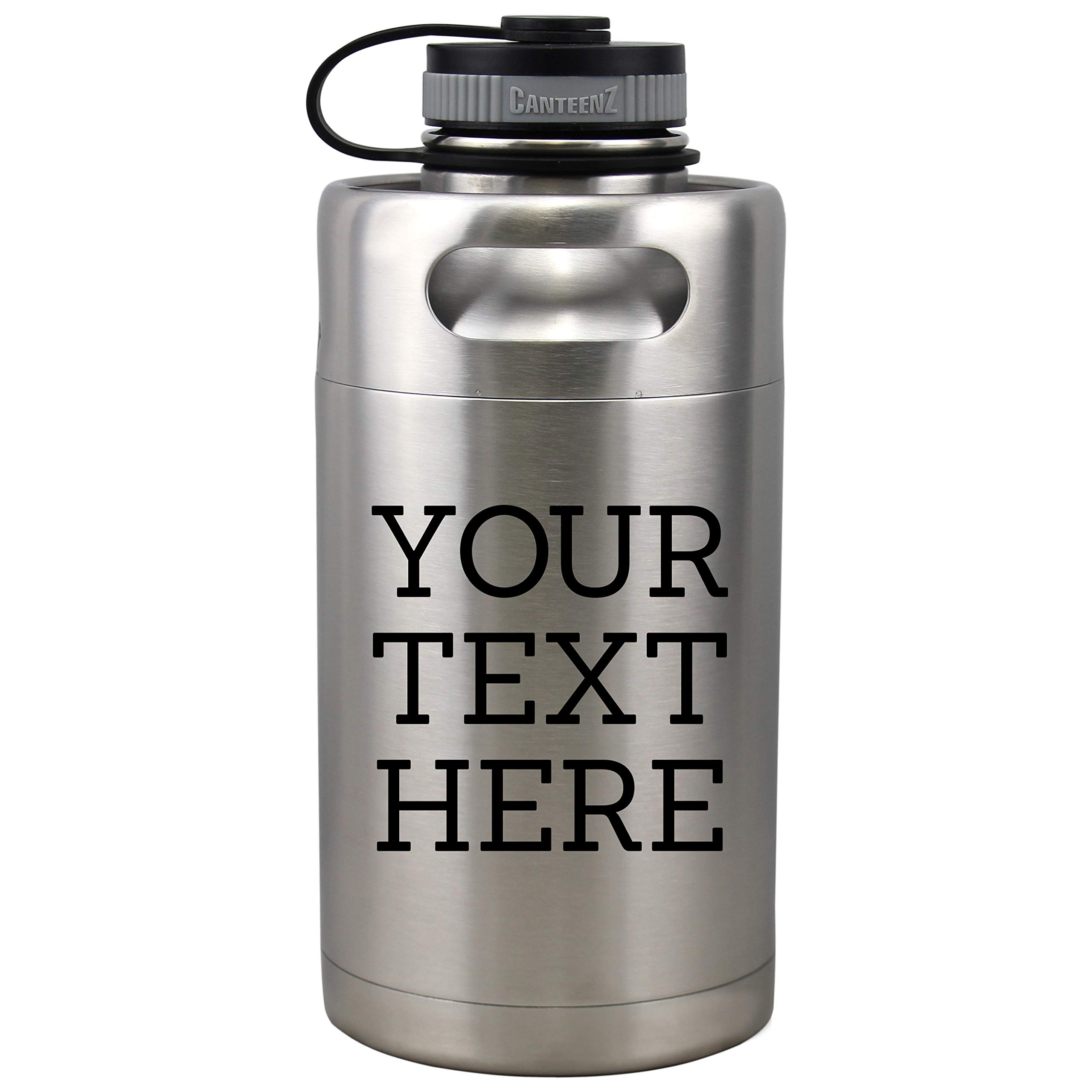 Personalized Etched Custom Message Insulated Beer Growler 64oz Keg (Stainless Steel)
