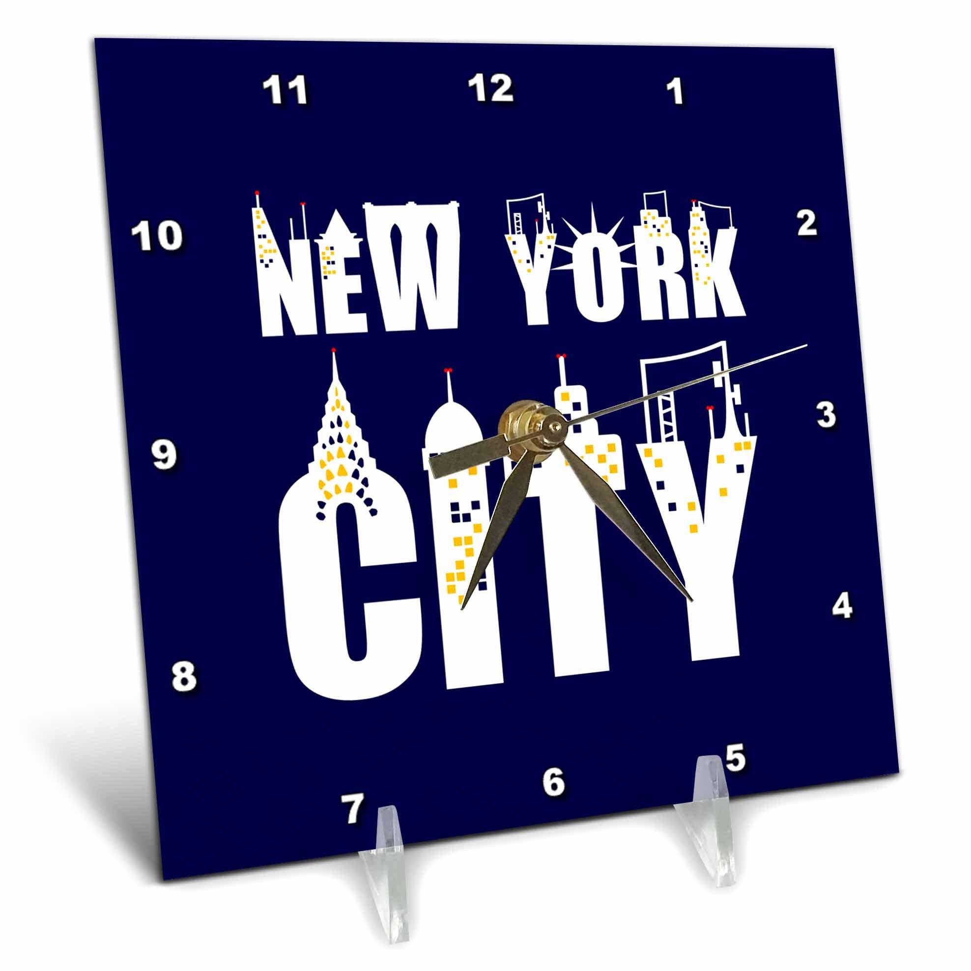 3dRose Alexis Design - American Cities - Elegant text New York City, landmarks, shining windows on blue - 6x6 Desk Clock (dc_286455_1)