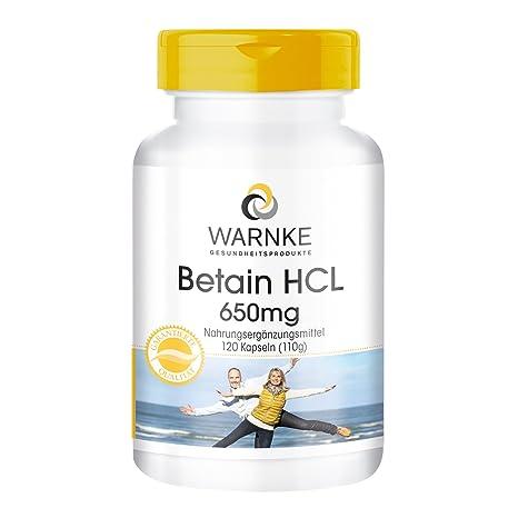 Betaína HCL – productos para la salud Warnke – 650mg – 120 cápsulas