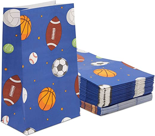 Baksetball, Volleyball, Tennis, Baseball Party Supplies Crafts Team Gifts Birthday Party Sports Party Favors Fillable Containers for Boys Girls Kids ~ Set of 4 Sports Ball Party Favor Boxes Containers for Candy