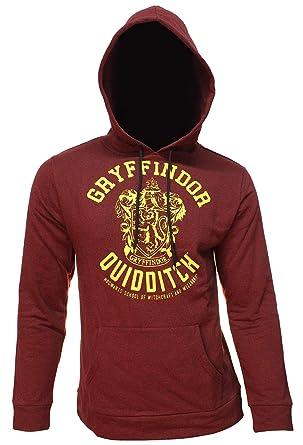 3254660d0 Men's Harry Potter Hoodie Distressed House Crest Quidditch Pullover Hooded  Sweatshirt (Gryffindor, X-