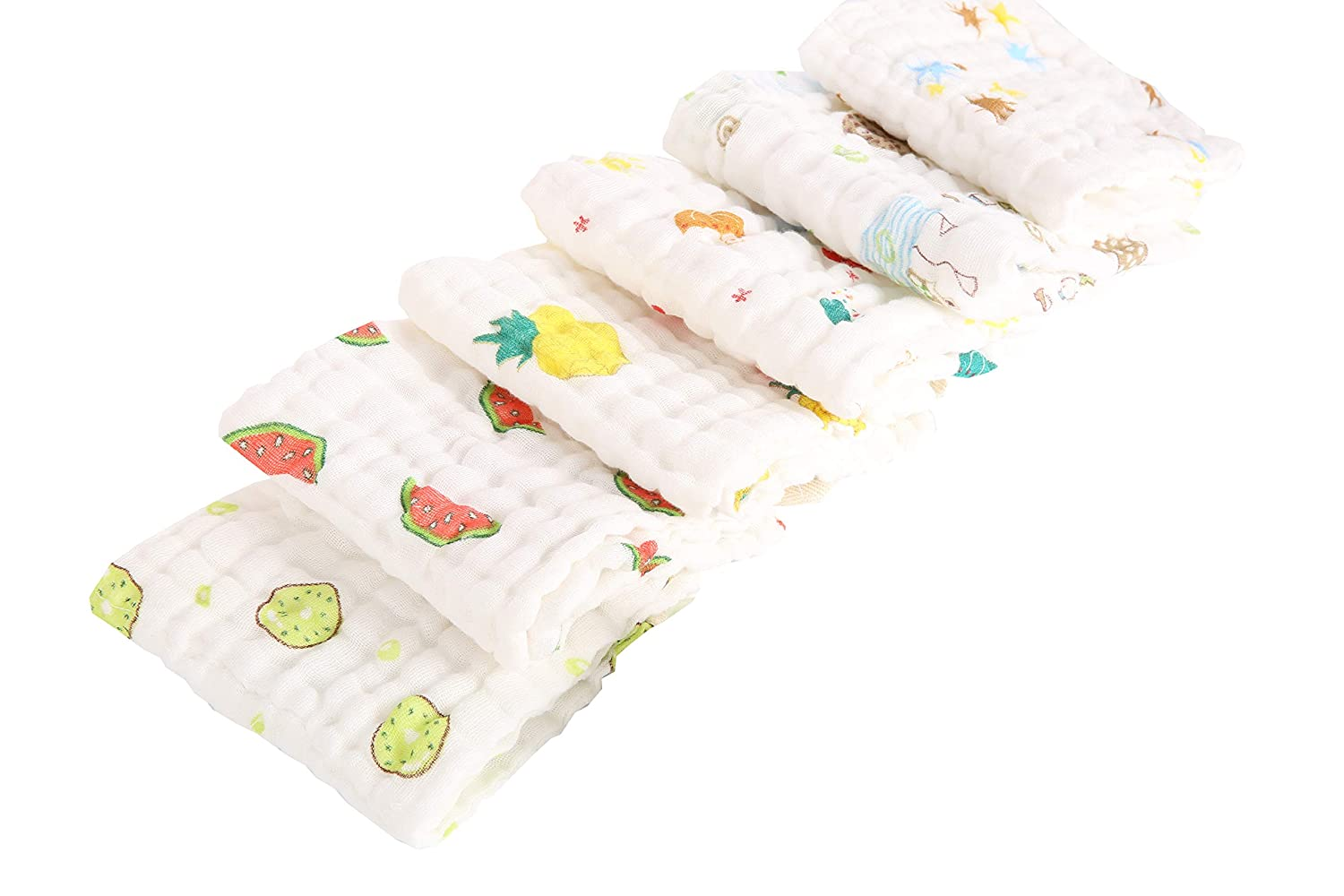 6 Pack Newborn Baby Muslin Face Washcloths Baby Drooling Nursing Towels 30x30cm 6Layers Gauze Cotton