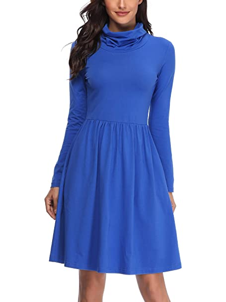 3fdd5e28c498 FENSACE with Pockets Womens Turtleneck Long Sleeve Swing Dress at ...