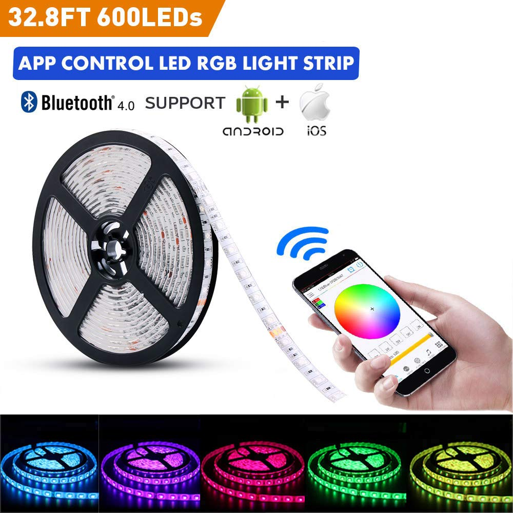 LED Light Strip Kit, 32.8Ft RGB 600 LEDs Waterproof App Strip Lights with 24V Power Supply, Bluetooth Controller and Rope Light Fixing Clips, Supply for Indoor, iOS and Android