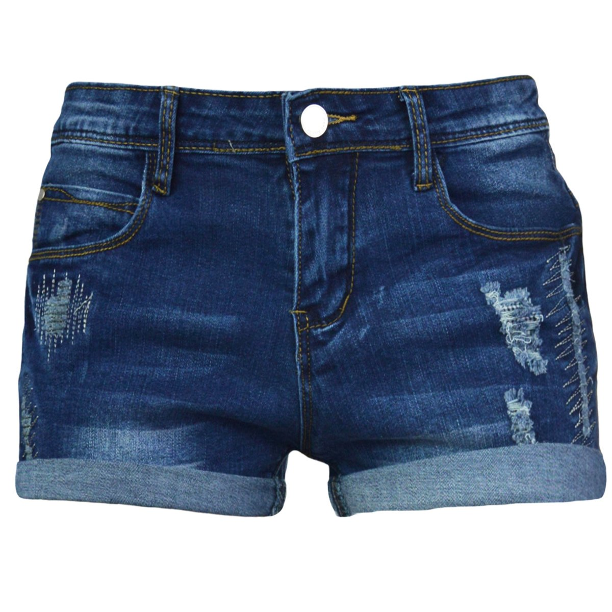 PHOENISING Women's Stylish Ripped Hole Short Shorts Stretchy Denim Fabric Hot Pants,Size 2-16