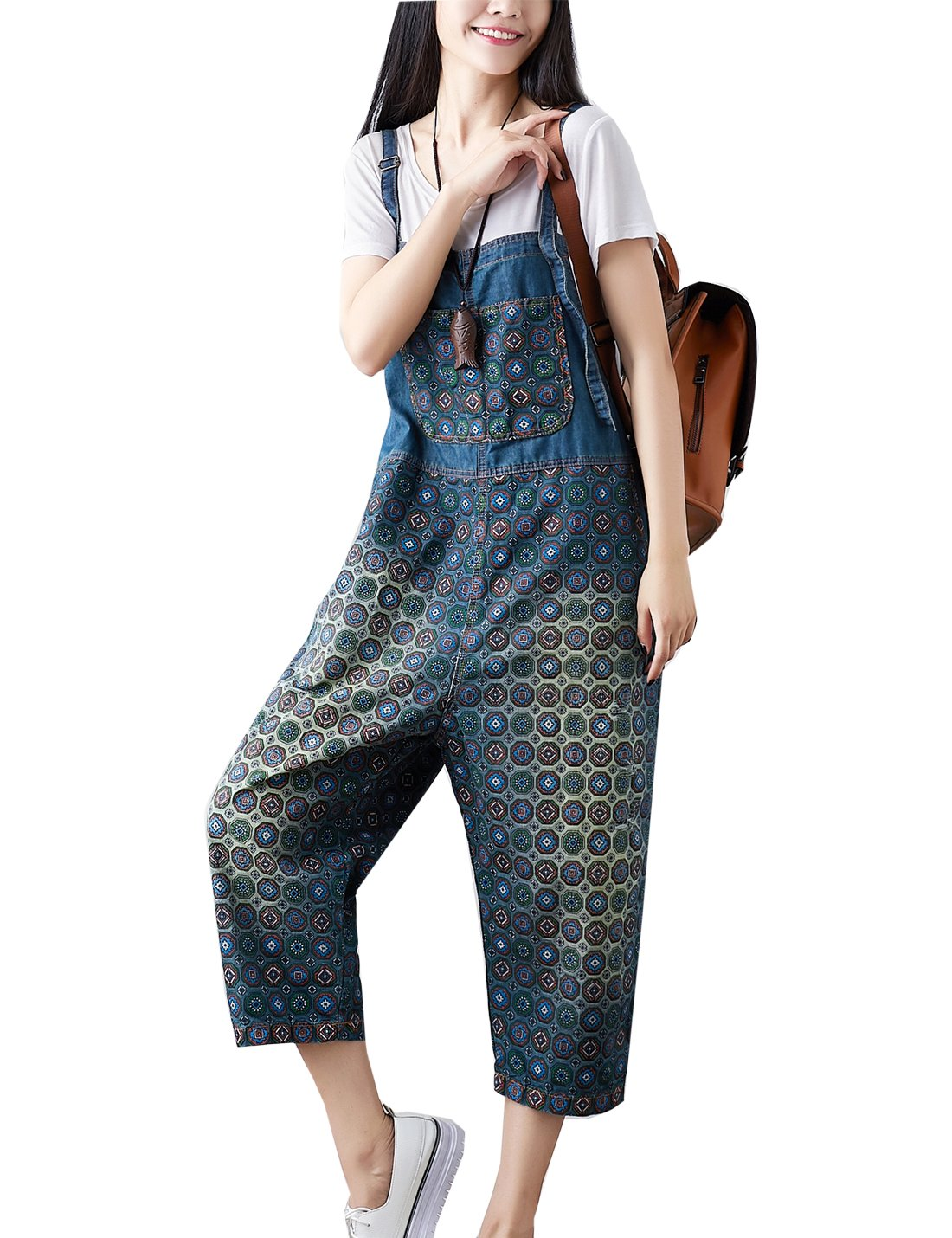 Flygo Women's Loose Baggy Cotton Wide Leg Jumpsuit Rompers Overalls Harem Pants (One Size, Style 03 Dark Blue)