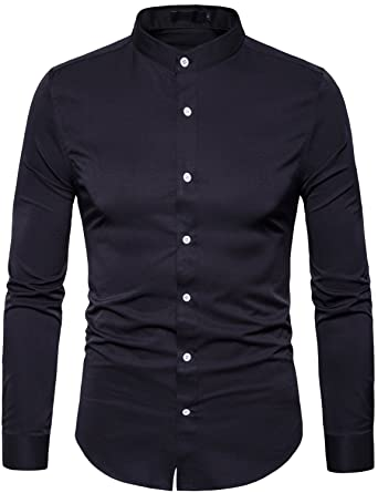 394d9f4c0 WHATLEES Mens Solid Slim Fit Long Sleeve Mandarin Collar Casual Button Down  Shirt T117 Black Small