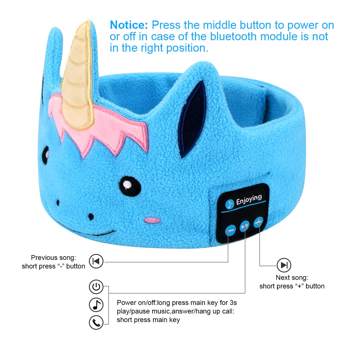 Kids Headphones Bluetooth Headband, Topoint Wireless Music Sport Headbands with Microphones for Boys Girls for Home, Travel, Party, Outdoor, Blue