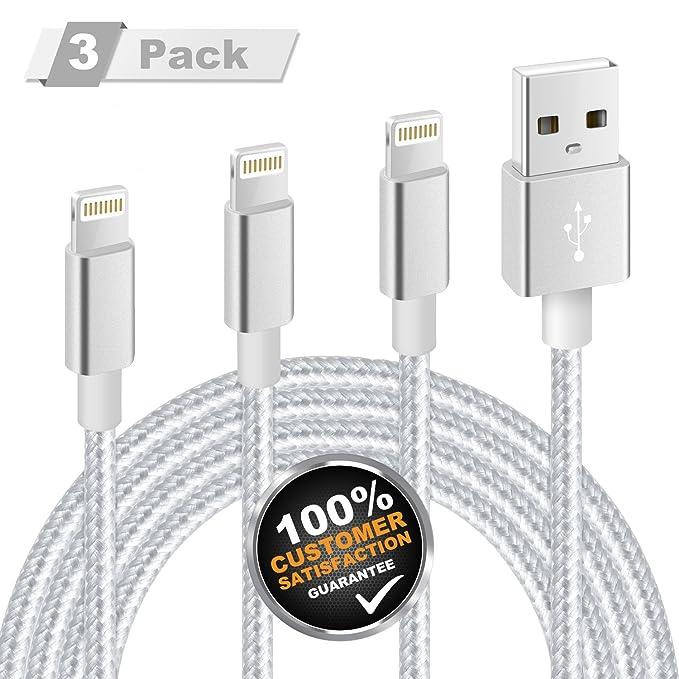 11 opinioni per Cavo Lightning MITE, Caricatore USB 3Pack 3FT 6FT 10FT [Nylon intrecciato]