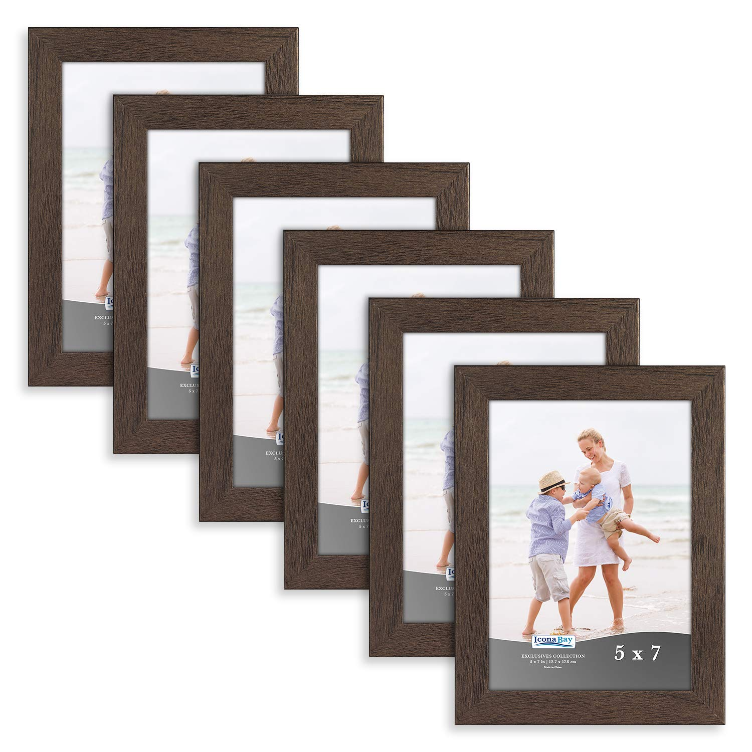 Icona Bay 5x7 Picture Frame (6 Pack, Hickory Brown), Brown Sturdy Wooden Composite Photo Frame 5 x 7, Wall or Table Mount, Set of 6 Exclusives Collection by Icona Bay