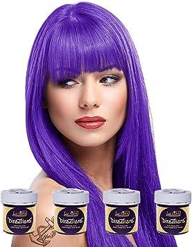 Tinte capilar de La Riche Directions Pack de 4 botes (Violet - violeta) Incluye un brocha con peine Blue Banana gratis