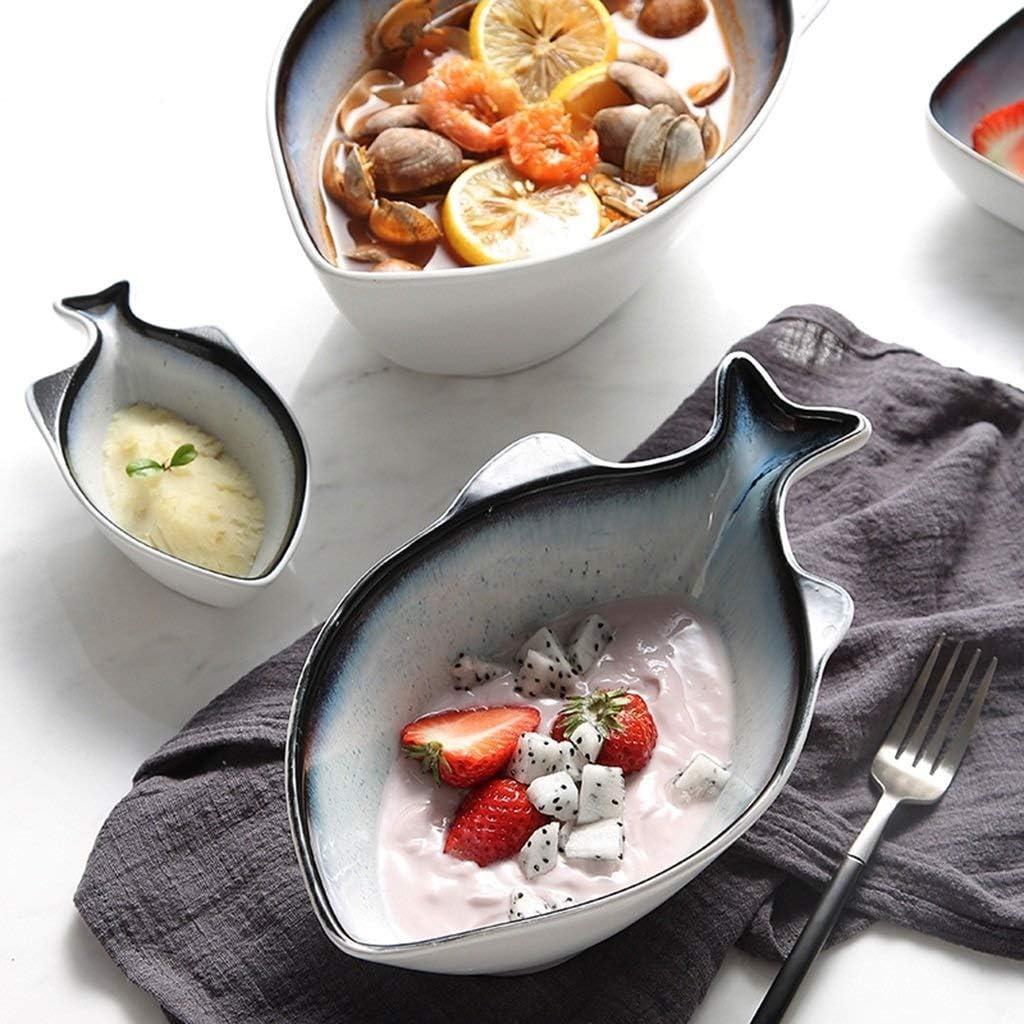 Color : L WML Bowl Stoviglie Ciotola di Spaghetti in Ceramica a Forma di Pesce da 4,5 Pollici Ciotola di Riso in casa Personalizzata Ciotola di Frutta Ciotola per Dessert