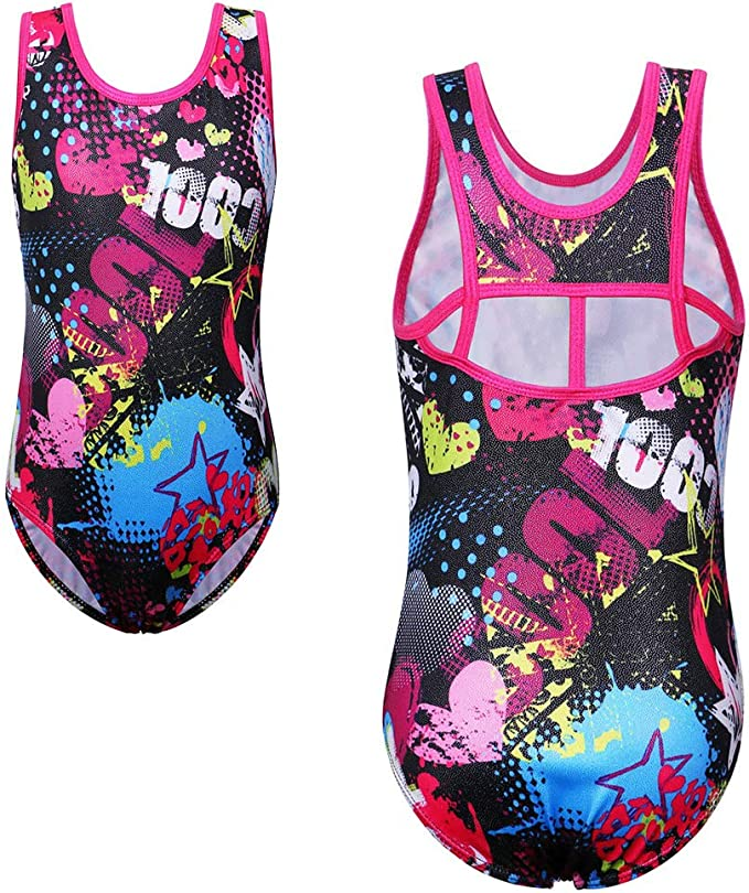 TFJH E Girls Gymnastics Leotards with Shorts One-Piece Athletic Dance Unitard Fish Scales